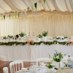 Blue and White Country Wedding- garlands and vintage china