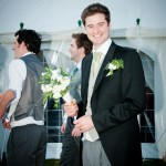 Groom with Bouquet- Blue and White