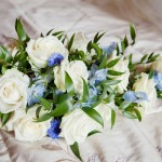 Blue and Ivory Shower bouquet