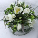 Table Posy in Winter Whites
