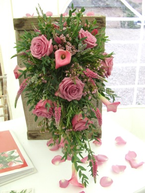 Country Shower Bouquet. Pink Roses and Calla Lilies