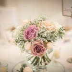 Rose and gypsophila fishbowl table centre