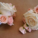 Pretty pink and champagne Rose buttonholes