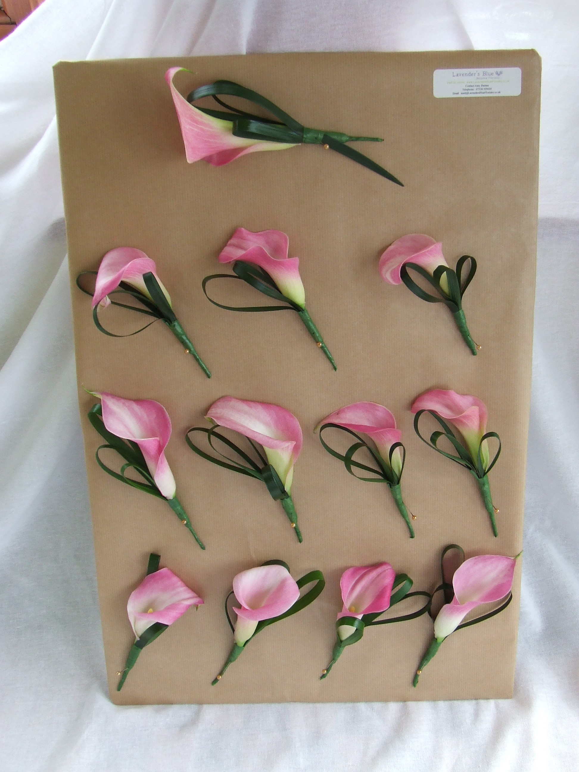 Pink Calla Lily Buttonholes2