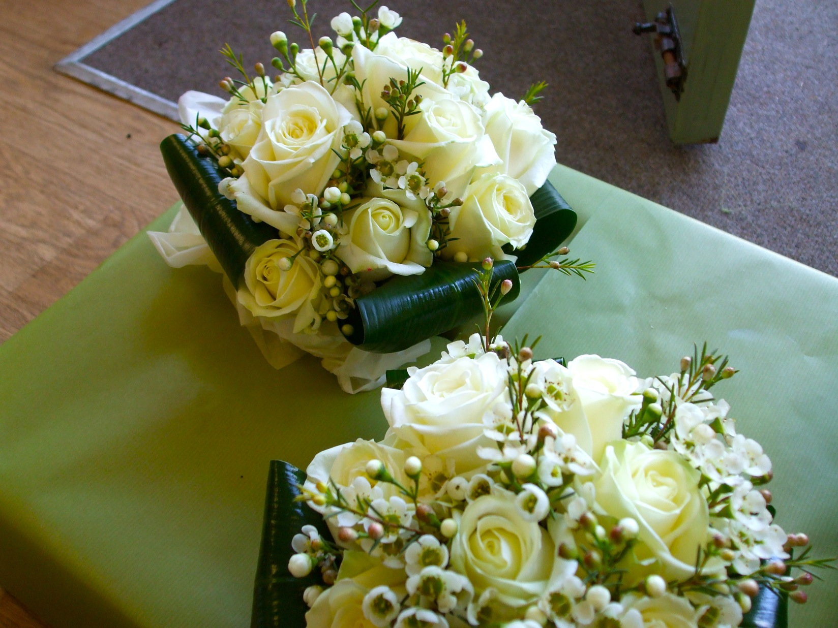 White Rose and Waxflower Posies
