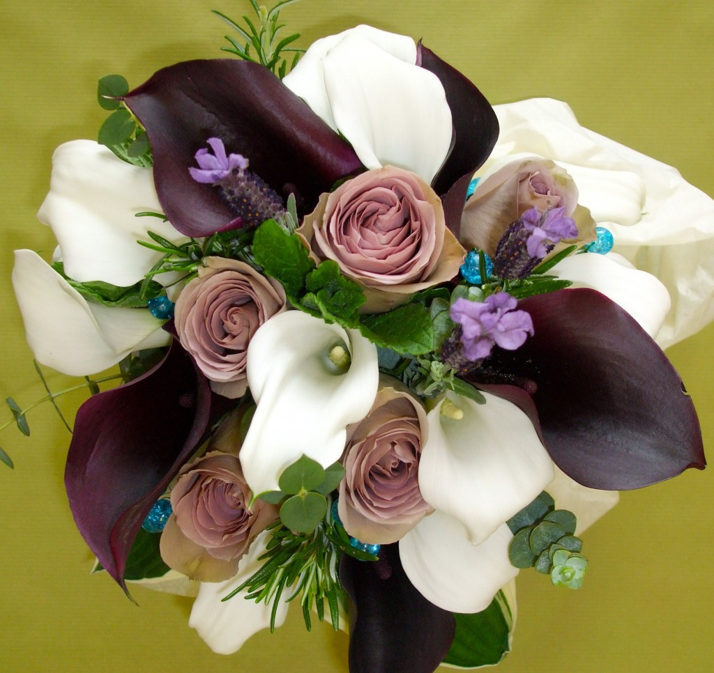 Rose, Calla and Herb Hand Tied Bouquet