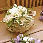 Purple and White Bouquets Photographed From Above
