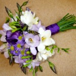 Purple and White Hand Tied Bouquet