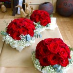 Red Rose and Gypsophila Bridesmaids' Bouquets