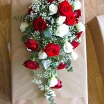 Red and White Rose Shower Bouquet