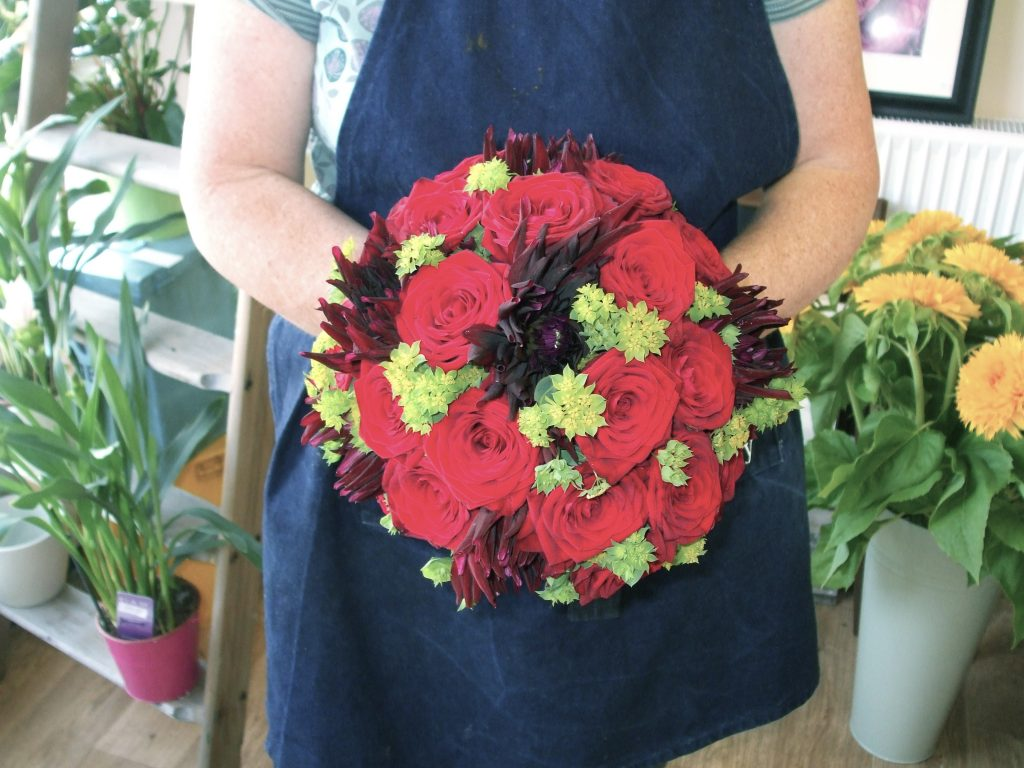 Red Rose and Dahlia Hand Tied