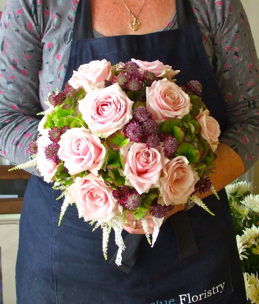 Soft Pink and Green Hand Tied Bouquet