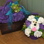 Bridal Flower Handbag and Bridesmaid's Dog in a Bucket!