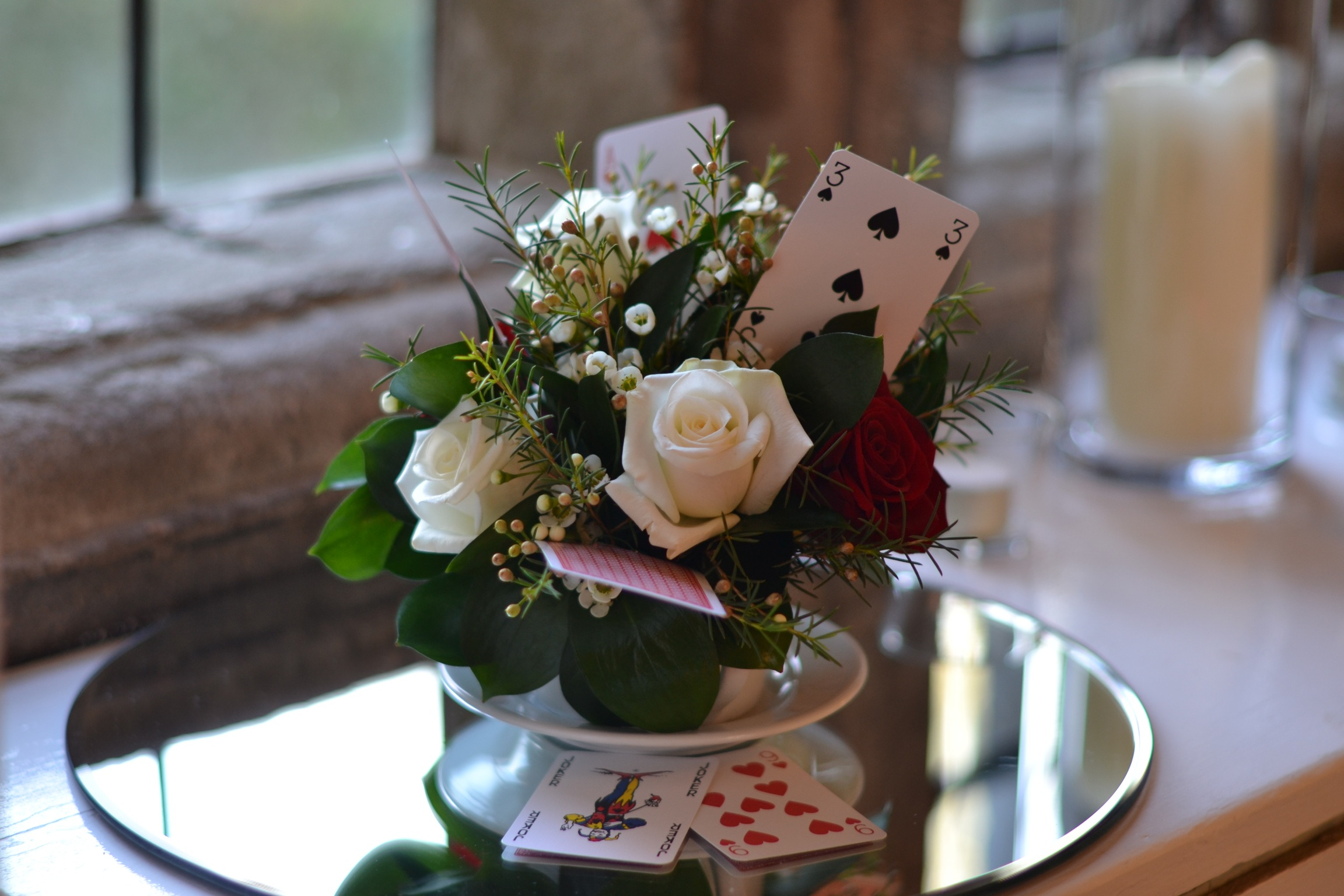 Table Centre- cup and saucer with playing cards