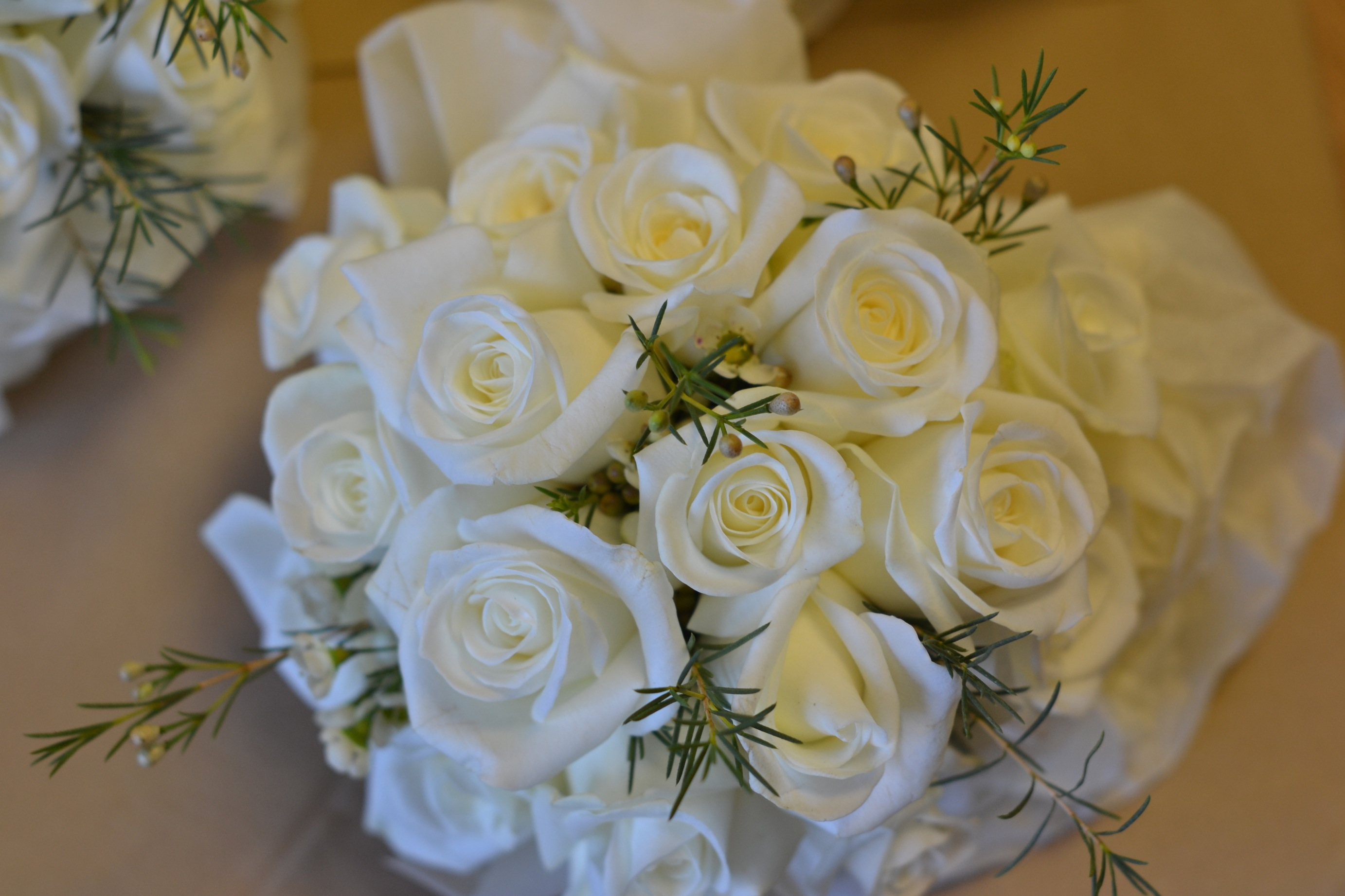 White Rose and Waxflower Hand Tied