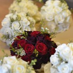 Hand Tied Rose Bouquets in Red and White