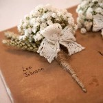 Gypsophila and wheat buttonhole