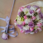 Spring hand tied bouquet and wand