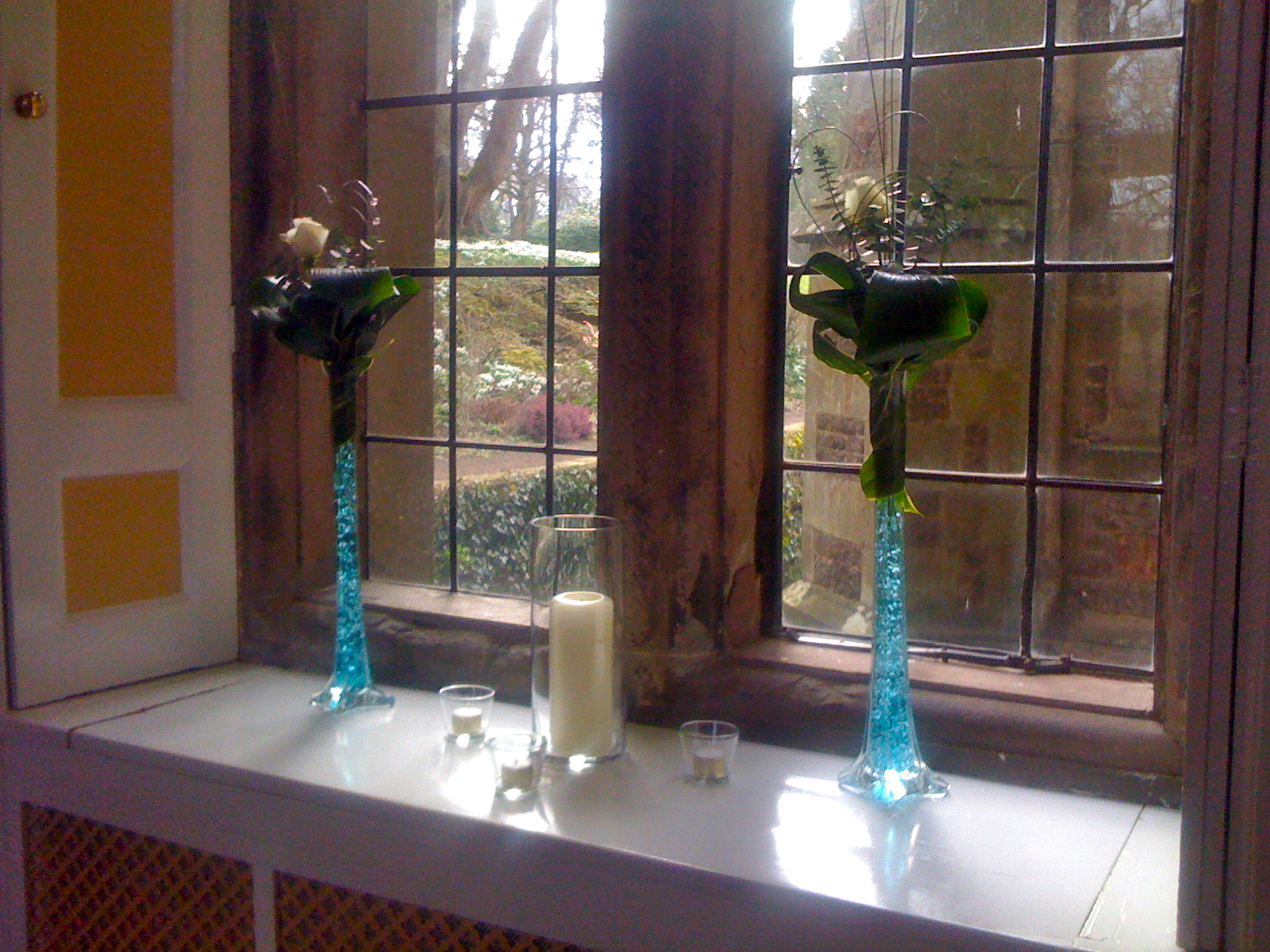Tall Blue Lily Vase with Rose
