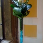 Tall Blue Lily Vase with Rose2