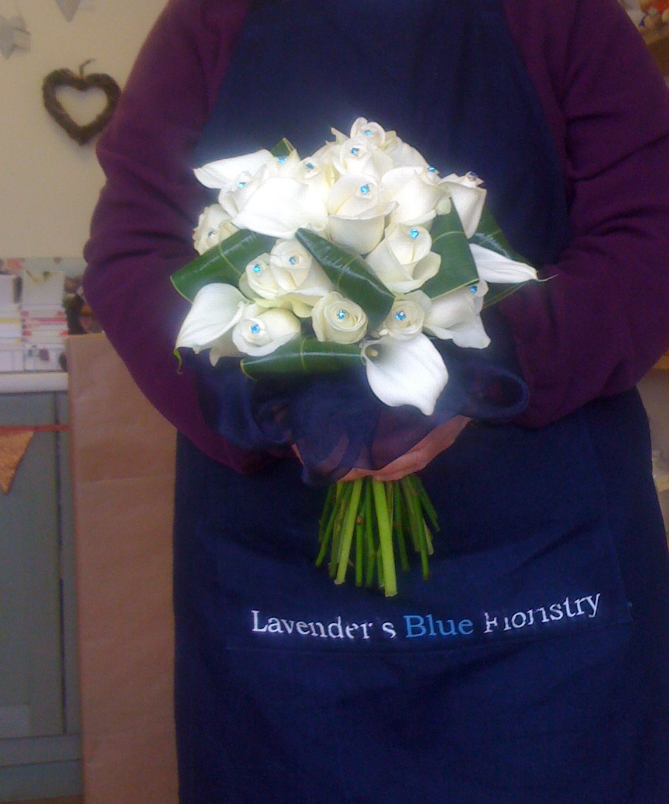 White Rose and Calla Hand Tied