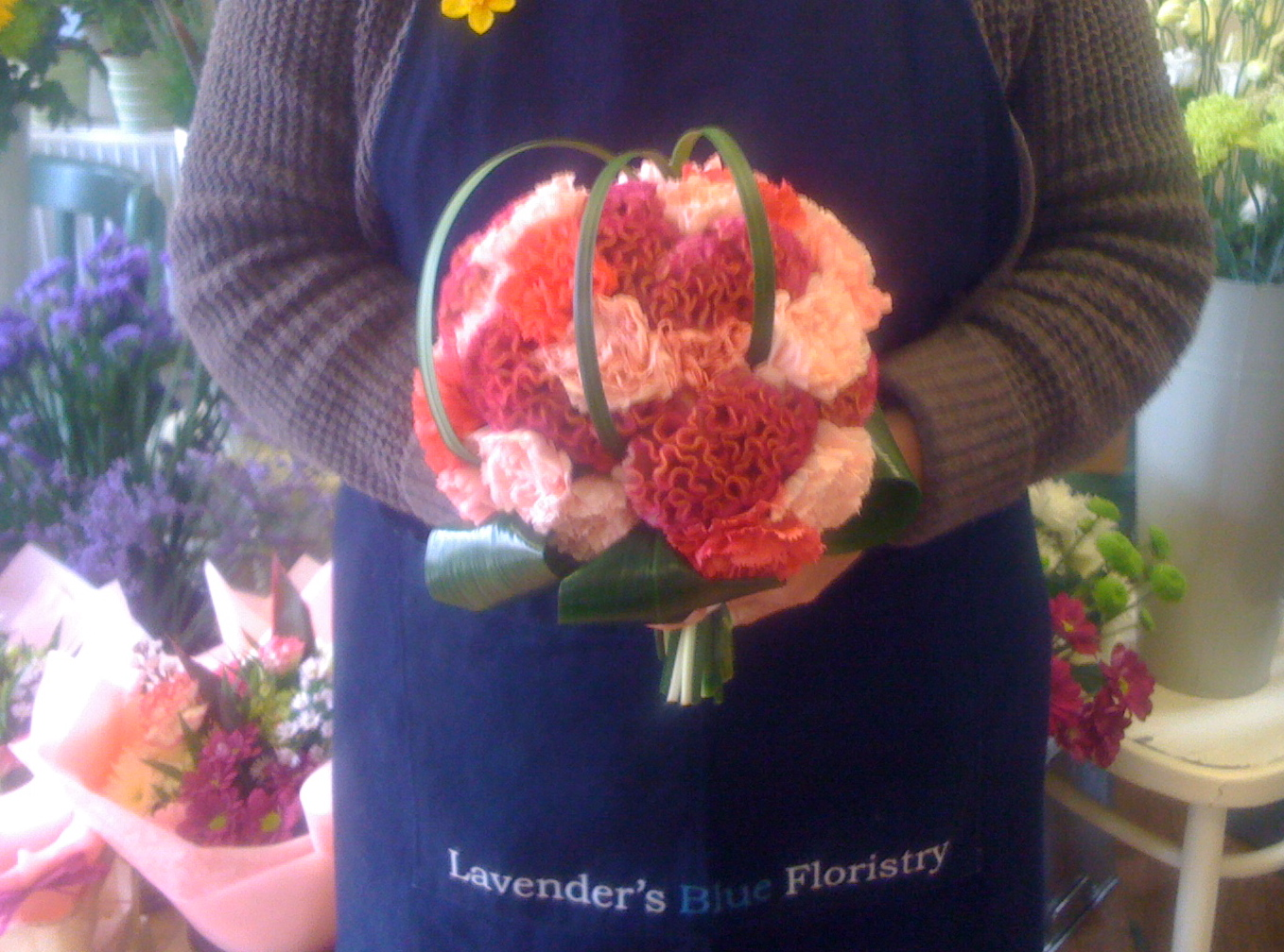 Carnation and Celosia Hand Tied