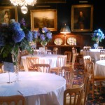 Stately blue tall table centres