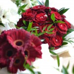 Rich Red Rose Hand Tied.  Gerbera Hand Tied