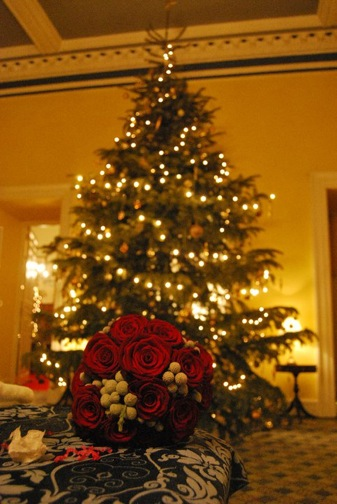 Red Rose Bouquet at Christmas