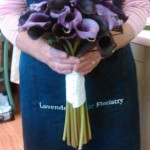 purple calla hand tied bouquet