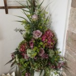 Relaxed Pedestal Arrangement- pinks and burgandy