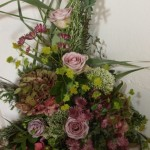 Pastel pinks and soft reds- Pedestal Arrangement