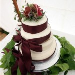 Wedding Ckae- burgandy and soft pink